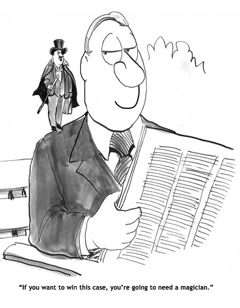 Law cartoon about needing a legal magician to win the case. Stock Photo
