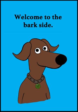 犬とダークサイドのしゃれの漫画イラスト。