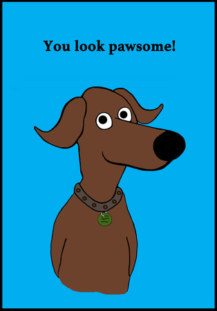 Cartoon illustration of a friendly dog and a pun about awesome. Stock Photo