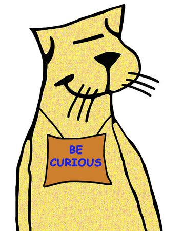 Cartoon illustration of a cat wearing a sign be curious. Banco de Imagens