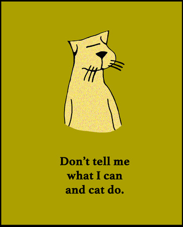 funy: Cartoon illustration of a yellow cat with a pun.