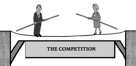 Business cartoon illustration depicting two business people walking toward each other on a tightrope, the competition.