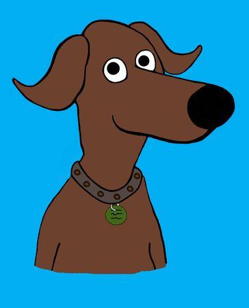 Cartoon illustration of a friendly, brown dog.
