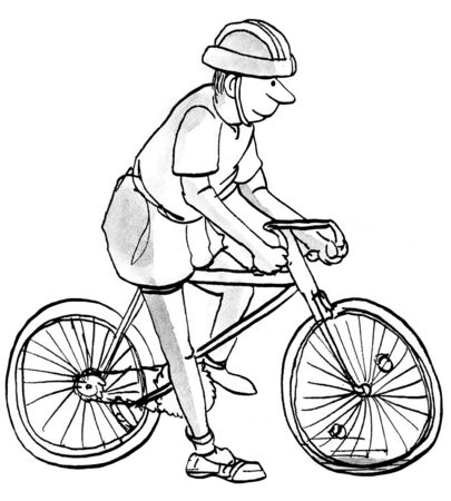 Cartoon illustration of baby boomer man riding a bicycle. Stock Photo