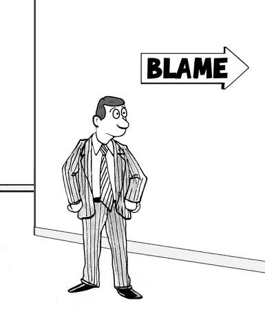 Cartoon showing a man headed toward blame.