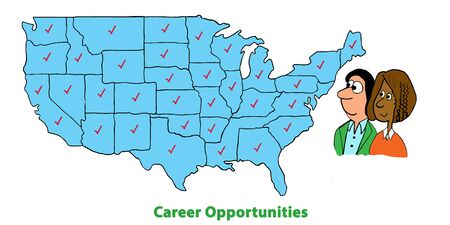 Business cartoon illustration showing two business women looking at career opportunities across the USA.