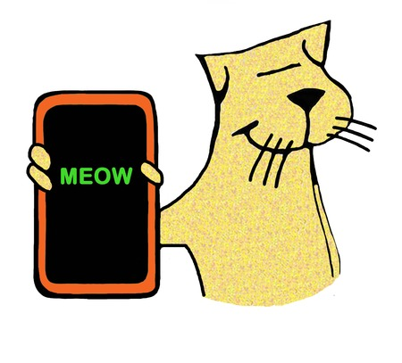 Cartoon illustration of a cat holding a cell phone that reads meow. Фото со стока