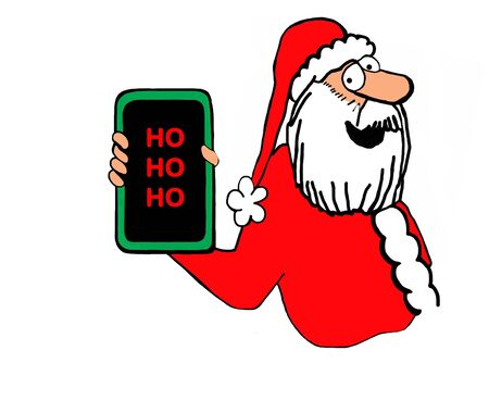 Christmas cartoon illustration showing a jolly Santa Claus and his cell phone screen says ho ho ho. Stock Photo