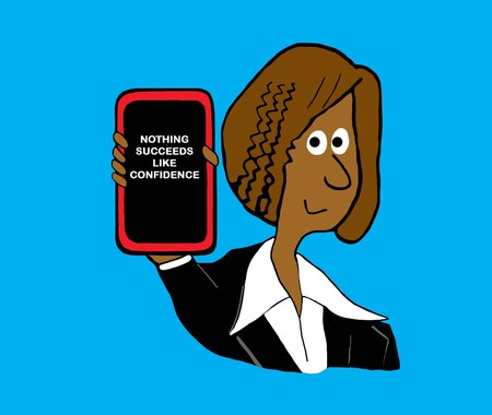 Business cartoon illustration showing a smiling, black woman referring to confidence.