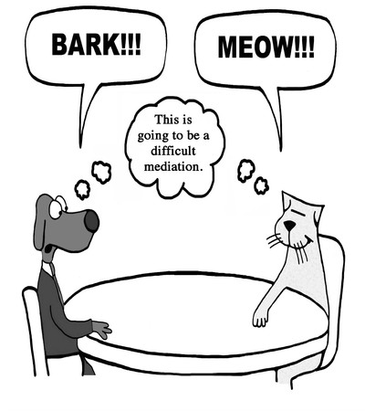 A cat and dog are mediating a dispute. Banque d'images