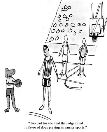Dog is a good basketball player.
