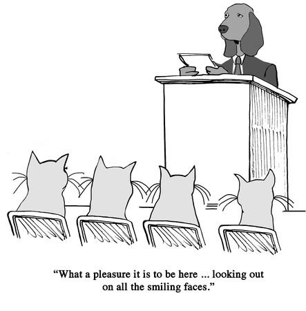 An awkward speaker says he will use humor.
