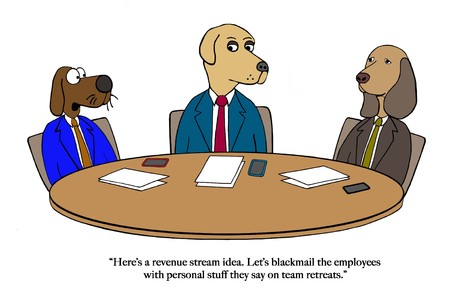 Dog partners brainstorm about revenue Stock Photo