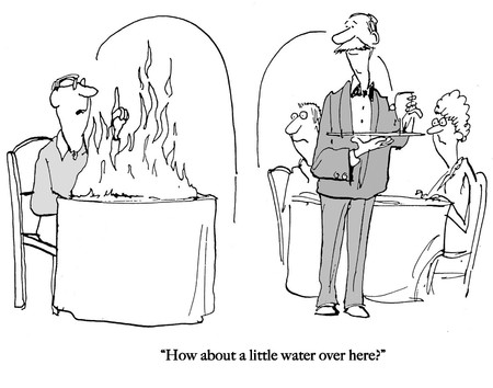 A customer in restaurant needs water for fire.
