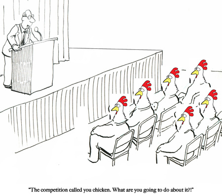 A speaker tries to motivate the chicken