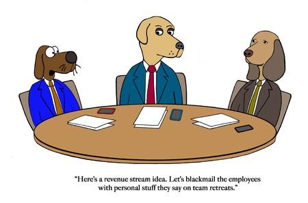 Dog partners brainstorm about revenue Archivio Fotografico