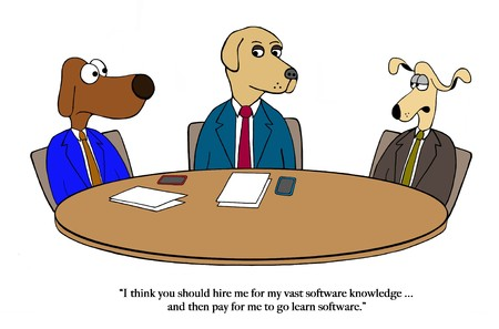 Dog wants to be hired and then trained