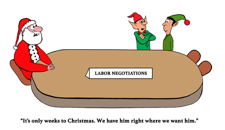 Elves are negotiating with Santa Imagens