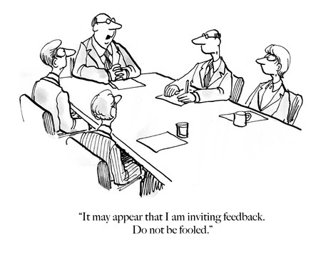 Older white executive boss does not want feedback