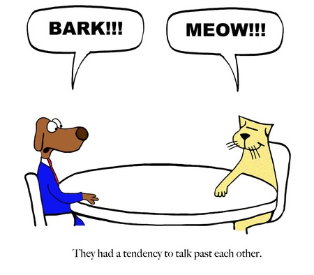 A cat and a dog have different communication styles