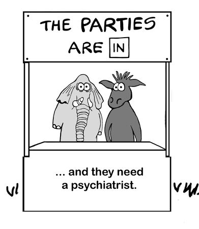 Two political parties need therapy Stockfoto - 129403868