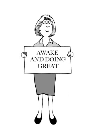 Woman is using a sign to say how great she is