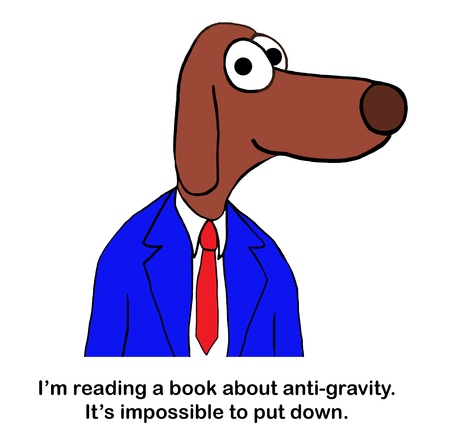 Dog professor cannot put down gravity book Zdjęcie Seryjne