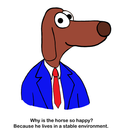 Dog speaker talks about horses in stables Zdjęcie Seryjne