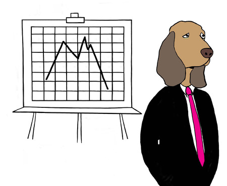 A beagle looks sad in front of bad quarter Stock Photo