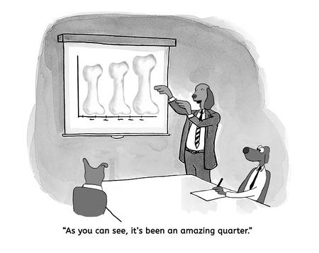 Dog head of marketing gives quarterly results Zdjęcie Seryjne