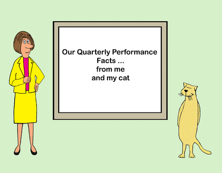 Woman executive works with her cat on quarterly performance