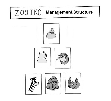 Zoo has animals in management pyramid