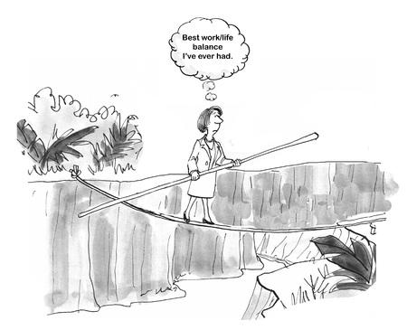 Woman executive is able to balance on rope Zdjęcie Seryjne