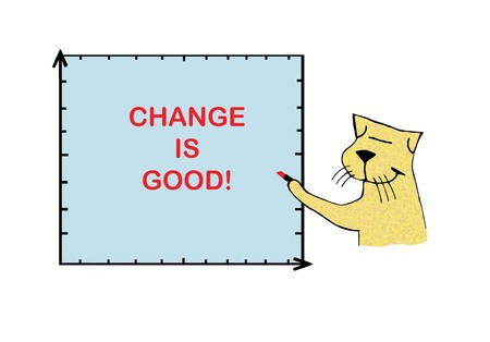 Smiling cat writes support for change
