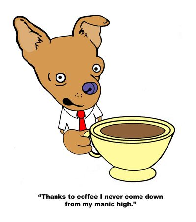Chihuahua is happy to get energy from coffee Banque d'images - 129403894