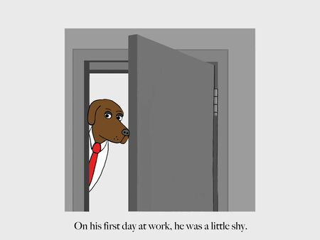 A dog on his first day of work is shy