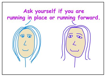 Color cartoon of two women tralking about whether you re running in place or running forward. 版權商用圖片