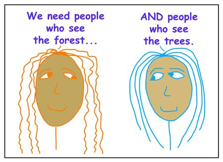 Color cartoon of two African-American business women stating that the company needs both people who see the forest AND people who see the trees.