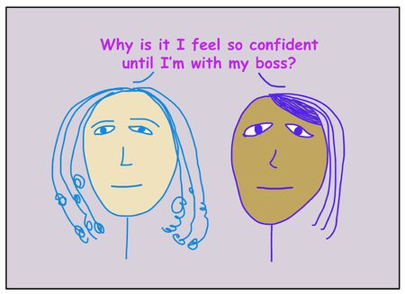 Color cartoon of two ethnically diverse business women asking why are they confident until they are with their boss.