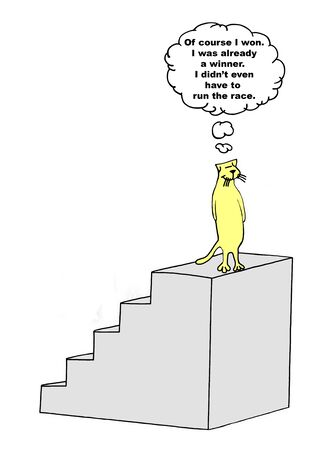 Color cartoon of a smiling cat on top of an award podium stating it did not need to even run the race, it is already a winner. Reklamní fotografie