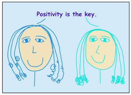 Color cartoon of two smiling women stating positivity is the key. Reklamní fotografie