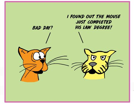Color cartoon of two cats talking and astonished because the mouse just received a law degree.  Reklamní fotografie