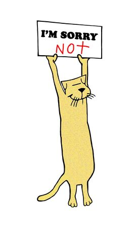 A yellow cat holds a sign that reads I'M SORRY NOT with a smiling face Reklamní fotografie
