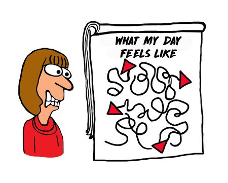 Color cartoon of a frenzied, overwhelmed woman whose day is hectic.