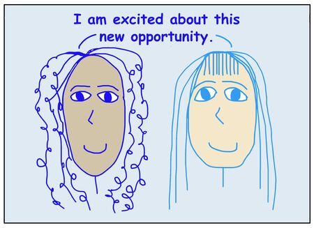 Color cartoon showing two smiling, beautiful, and ethnically diverse women saying i am excited about this new opportunity. Reklamní fotografie