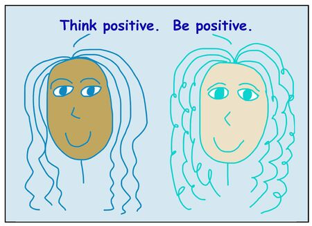 Color cartoon of two smiling, beautiful and ethnically diverse women saying think positive, be positive. Reklamní fotografie