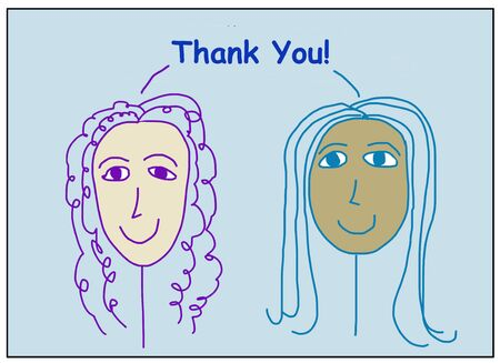 Color cartoon of two smilng, beautiful and ethnically diverse women saying Thank You!