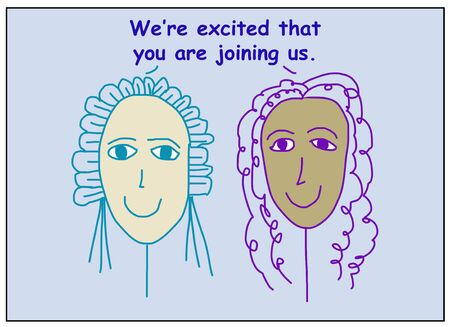 Color cartoon of two smiling and ethnically diverse women saying we are excited that you are joining us.