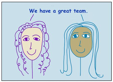 Color cartoon of two smiling, beautiful and ethnically diverse women stating we have a great team. Reklamní fotografie