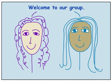 Color cartoon of two smiling, beautiful, ethnically diverse women saying welcome to our group.